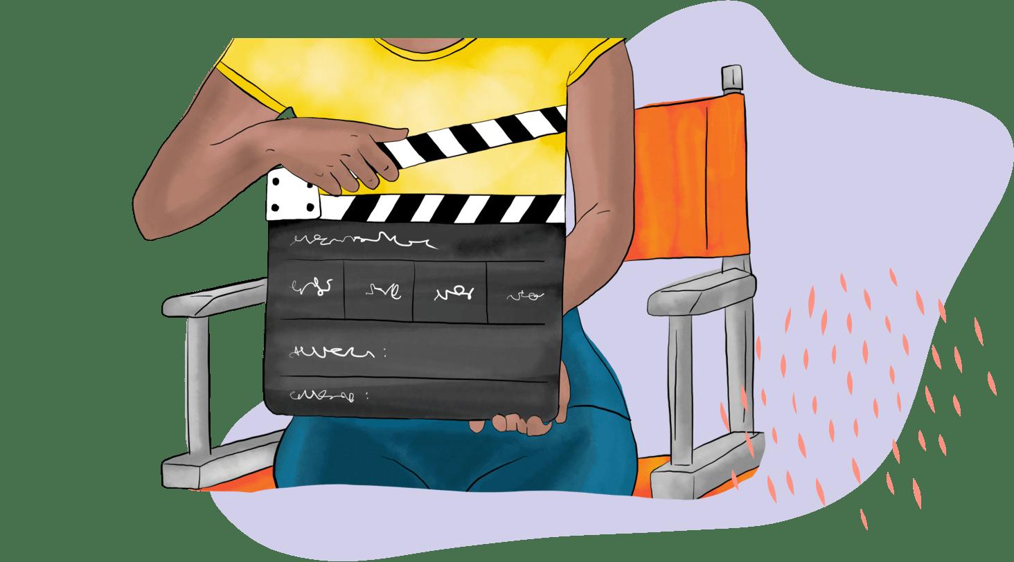 Illustration of amateur film director