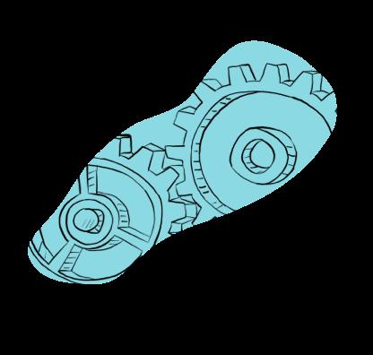 Illustration of Gears Turning