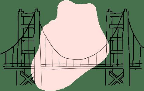 Illustration of suspension bridge.