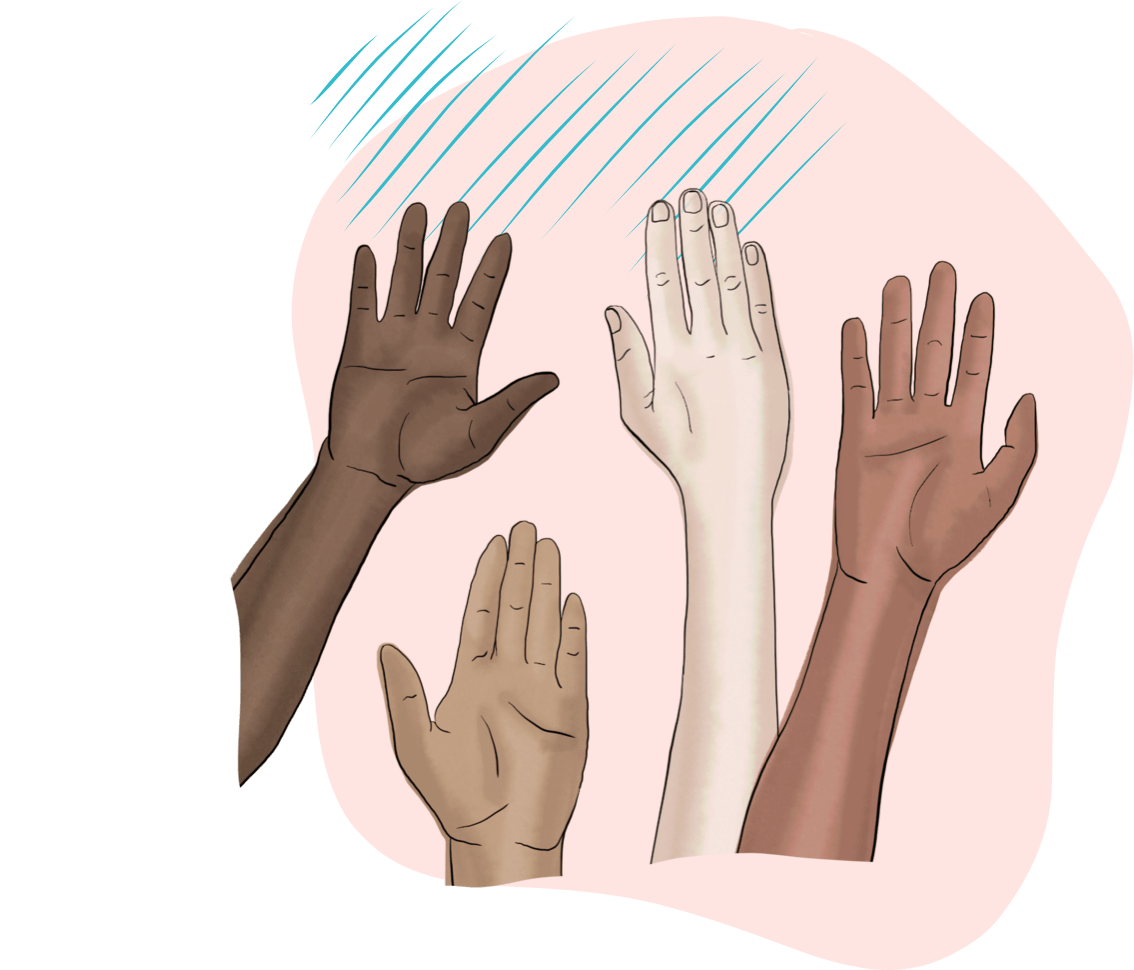 Illustration of hands in the air