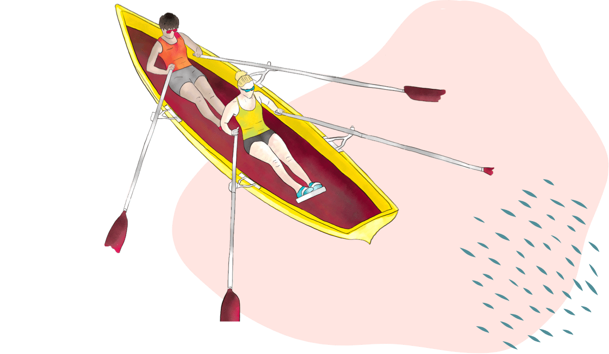 Illustration of rowing together