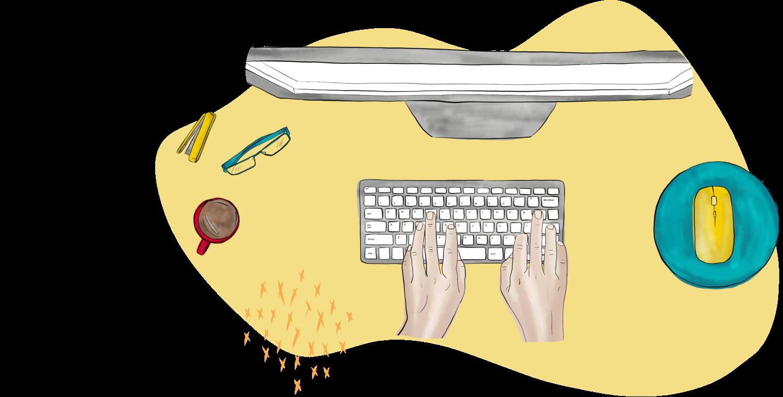 Illustration of using computer