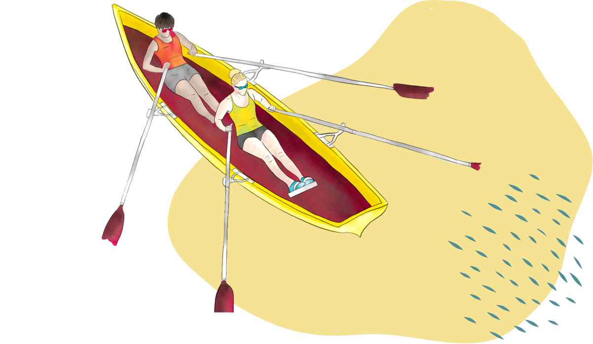 Illustration of rowing a boat